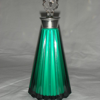 Emerald green perfume bottle (`6 inch) with cut glass stopper