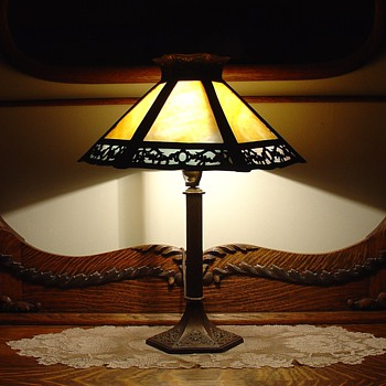 Antique Slag Glass Table Lamp