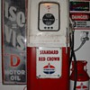 1950 Original Martin &amp; Schwartz Gas Pump...Theme Is Standard...42 cents a gallon...Iso-Vis Porcelain Sign...5 Gallon Oil Can  