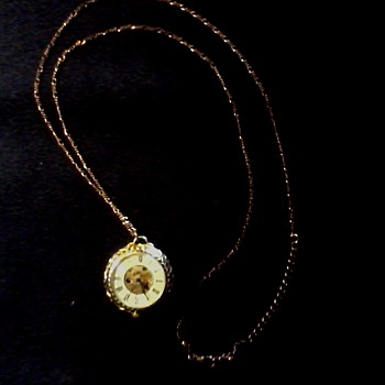 "Ladies Dual Crystal ""See Thru"" Pendant Watch/ Unknown Maker and Age"