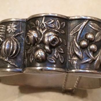 Signed Safir Sterling Silver Bracelet