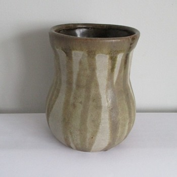 Studio Stone Ware Vase Brown/Green Slip Decoration