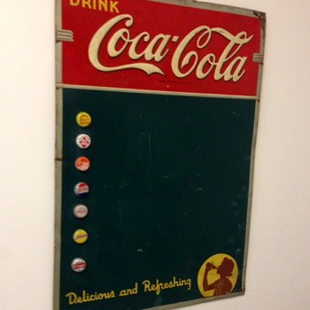 1940 Coca Cola Menu Board