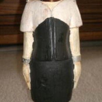 Wooden   Figure with brass ring around neck & Legs  - Folk Art