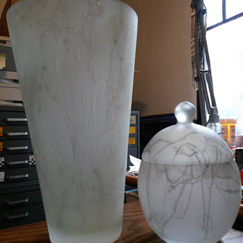 Vase & Lidded Jar in Frosted Cased Glass, Very Unusual??? - Art Glass