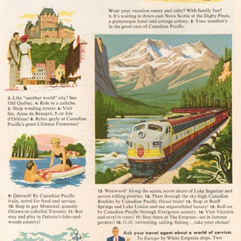 1952 - Canadian Pacific Railway Advertisement - Advertising