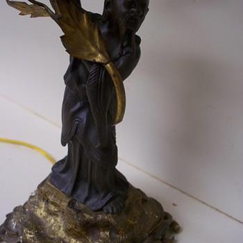 Confucius / Asian  Bronze Sculpture Lamp.  Help with Signature Artist Plz - Lamps