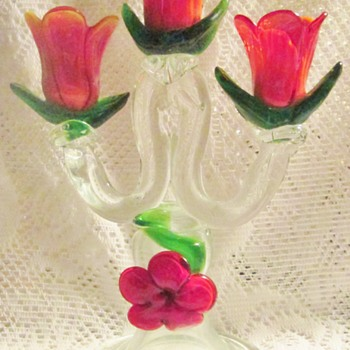 Floral Art Glass Tabletop Candelabra - Art Glass