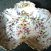 "Elegant ""Dresden"" Serving Dish / Hand Painted Floral and Gilt Design /Dresden Crown and ""H"" Mark Unknown Age"