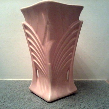 "McCoy 9"" Deco Vase /Matte Rose Glaze / Circa 1943"