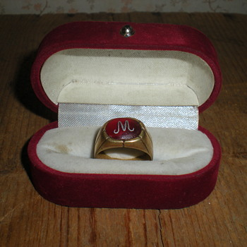 Art Nouveau bronze male ring with a silver monogram.