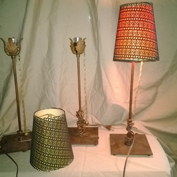 Older Original Lina Collection Fire Farm Lighting Table Lamps