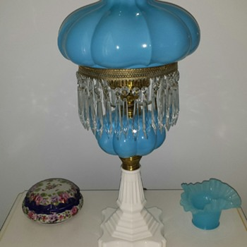 Equisite Blue Lamp with Milk Glass Base - Lamps