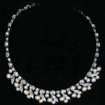 Sherman Pearl And Clear Rhinestone Necklace, Extremely Rare