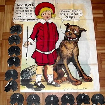 1916 Buster Brown Necktie Party Game! Artwork by R.F. Outcault - Games