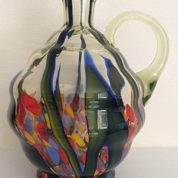 Kralik bambus decanter in uranium glass without stopper