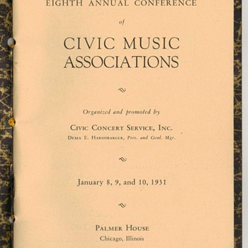 1931 Palmer House Music Program - Paper