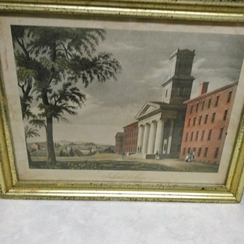 VINTAGE ENGRAVING   OF AMHERST COLLEGE - Visual Art