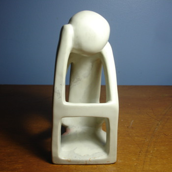 "Solid marble statue ""the thinker"" modern version  no  maker marks. - Figurines"