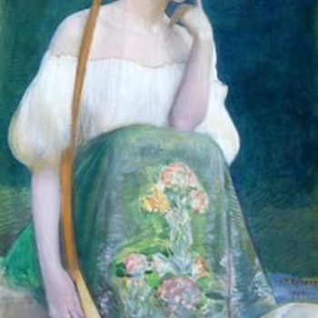 1904 Léo-Paul-Samuel Robert Symbolist Painting - Woman w/ Long-necked Lute - Art Nouveau