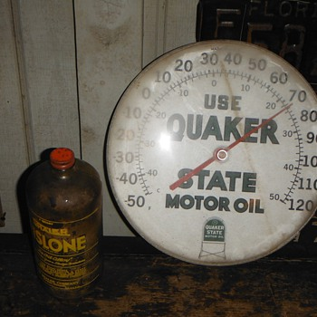 Found 11-01-13 Quaker State Thermometer & Rislone Glass Bottle