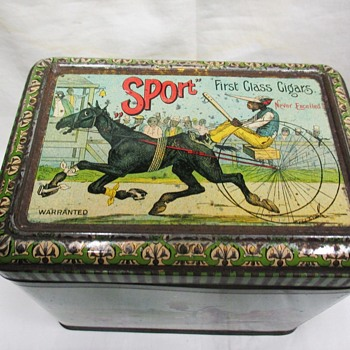 "My favorite Black Americana ""Crossed by 'A Milk Train.'"" Currier & Ives, 1885 Huge cigar tin"