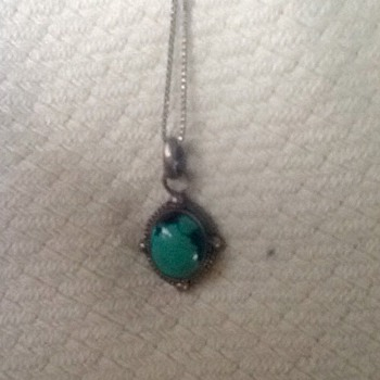 Turquoise and sterling necklace and 2 rings