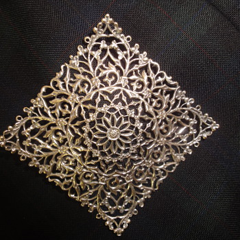 Large Silver Filigree Square Brooch