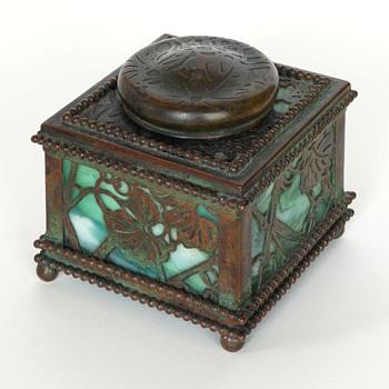 Tiffany Bronze & Glass Inkwell - Art Glass
