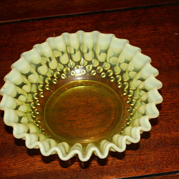 Green hobnail? looking candy dish?   - Glassware