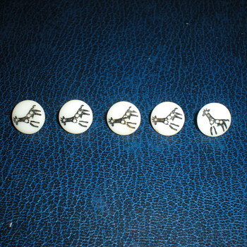 Bohemian milk glass buttons with giraffes! - Art Deco