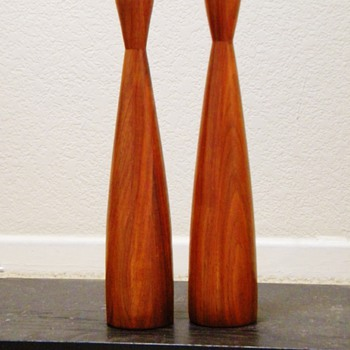 Pre MCM Teakwood Swedish? Denmark?  Tall Wooden Candle Sticks 13""