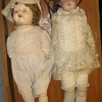 Mystery Antique Dolls Glass Eyes Curley Hair - German Possibly