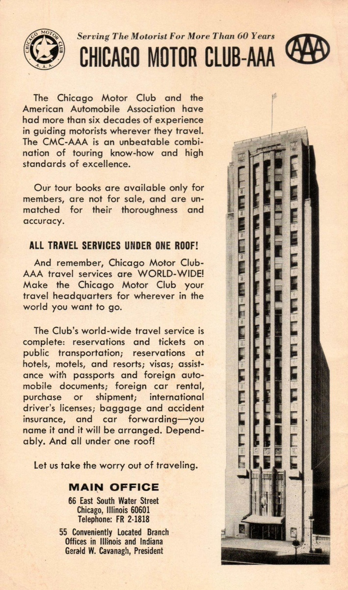 1968 southeastern states tour book collectors weekly for Aaa motor club chicago
