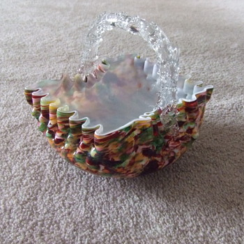 Victorian Art Glass thorn handled basket - Art Glass