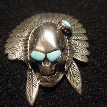 Large Native American Sterling Silver + turquoise pendant