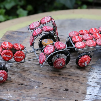 Tractor Made From Wire and Cocacola Bottle Caps