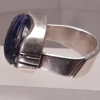 Potentially Good Scarab Ring Sterling Silver Lapis Turquoise Egyptian Revival - Fine Jewelry
