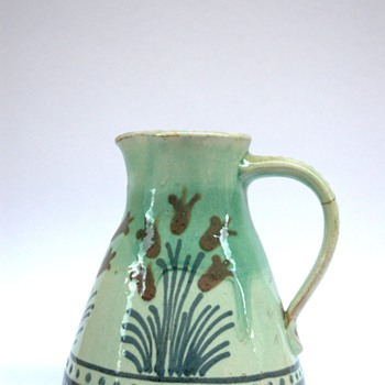 french art nouveau pottery pitcher with tulip pattern by LEON ELCHINGER - Art Nouveau