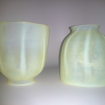 early frosted tiffany ribbed sconce shades - Art Glass