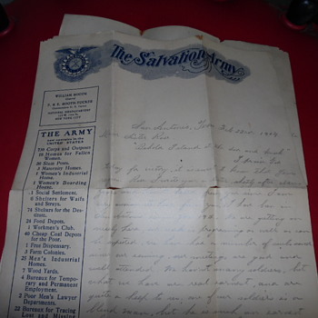 "Antique Salvation Army Letter Written By ""Emma Mason"" - Paper"
