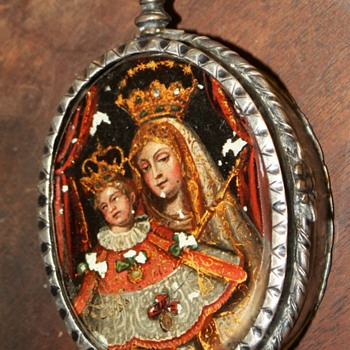 Large, Double-sided, Eglomise, Colonial Spanish Reliquary - Fine Jewelry