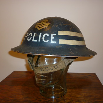 British WWII Police Sergeant steel helmet.