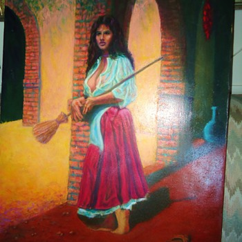 Roland Oeller Oil Painting,  Woman with broom! Beautiful Woman!