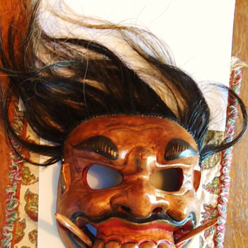 Scary Mask, from???  Wood with real hair? - Folk Art