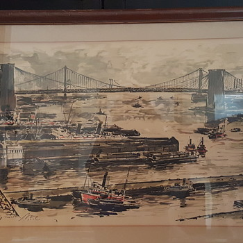 John Haymson Print/Painting?? East River Looking North N.Y.C. - Fine Art
