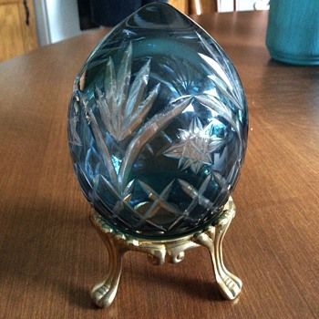 Crystal Blue Egg cut glass - Art Glass