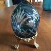 Crystal Blue Egg cut glass
