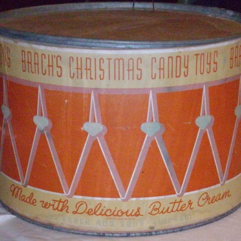 1937 Brach's candy drum counter display. - Advertising