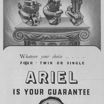 1950 Ariel Motorcycles Advertisement - Advertising